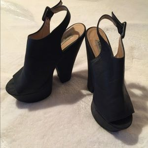 Steve Madden Peep-Toe Black Wedges